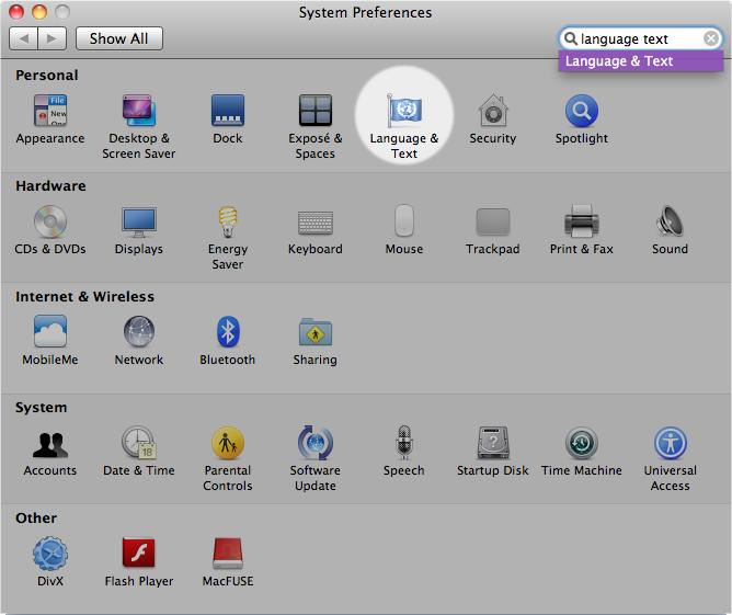 Mac Language Options